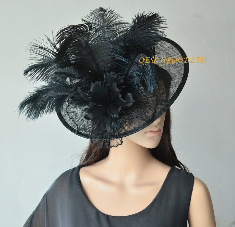 b1a5e58df6a NEW Black big sinamay saucer hat crin fascinator with ostrich