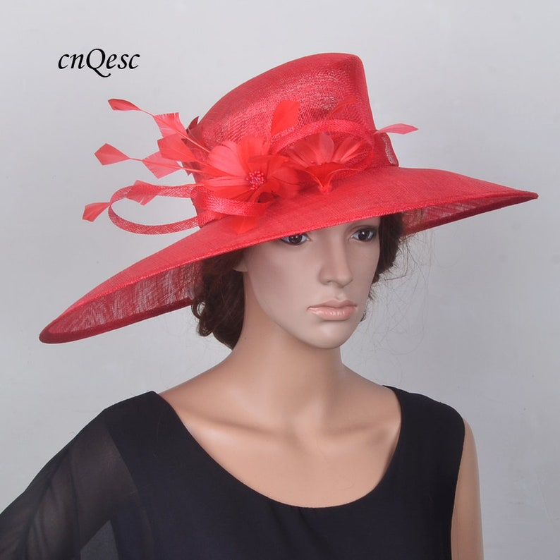 9d0bbee4 RED X large wide brim sinamay hat wedding fascinator hair accessories  fedora hatinator for Kentucky Derby,church,party