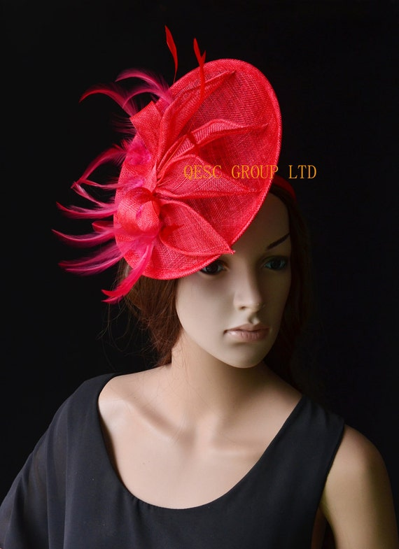 f306fc4af73 Red Sinamay Fascinator hat with feather sinamay leaves for