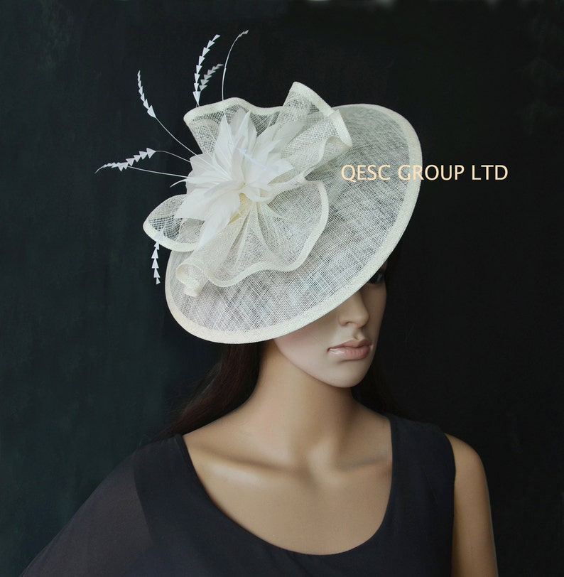 d9f0752c71508 Cream ivory big sinamay fascinator for Royal Ascot Derby Kentucky Melbourne  cup Wedding.