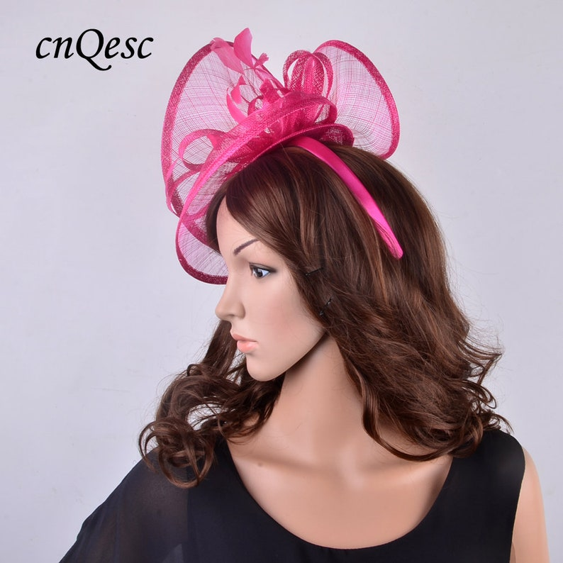 f7e9e97caec67 New two sides big fuchsia hot pink sinamay fascinator hat