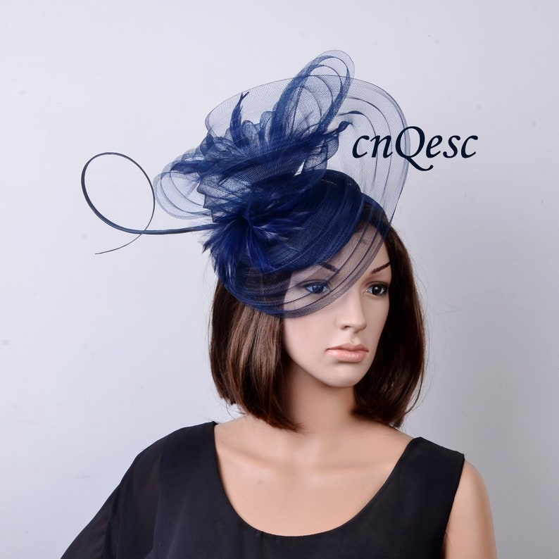 2a0f18b5853 New navy blue pleated crin sinamay fascinator Kentucky Derby
