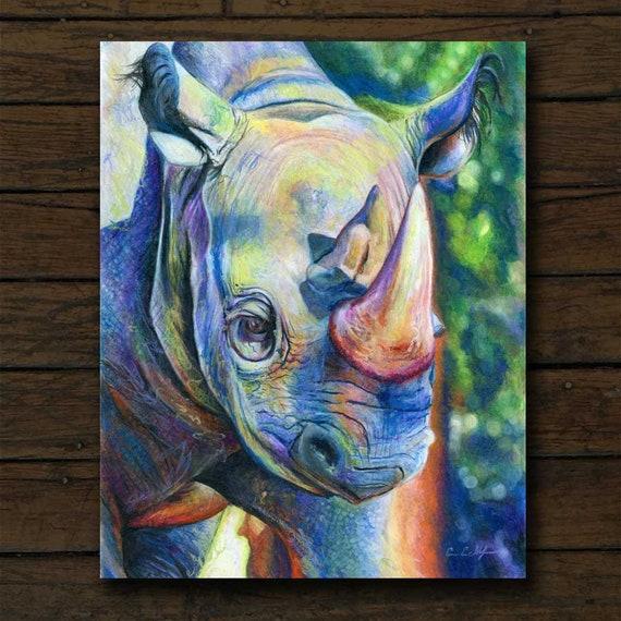 Rhinoceros Watercolor Print Rhino Safari Travel Wildlife Hunter Animal Decor Art
