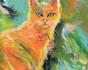 Cat Art Print - Orange Cat Art Print - Expressionistic orange marmalade cat - Archival Print