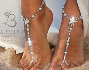 5c4f44f5f53b5 Crochet Ivory Barefoot Sandals Beach Wedding shoes Bride