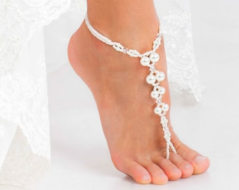 PROMO SALE Bridal foot jewelry Pearl and Crystal Beach wedding Barefoot Sandals Bridal barefoot sandal Beaded Barefoot Sandals Shoes