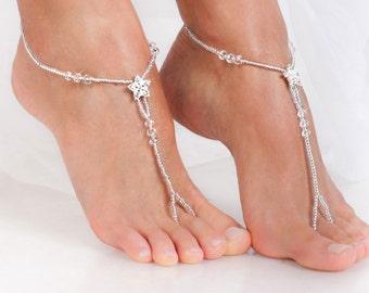 7884b5623cfa8 Stardust Barefoot sandals Bridal foot jewelry Rhinestone Beach wedding  Barefoot Sandals Bridal barefoot sandal Beaded Barefoot Sandals Shoes
