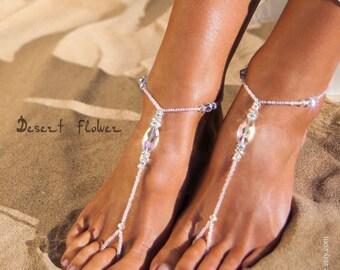 5ae14a7a1dde5 Rhinestone Bridal foot jewelry Sparkle Crystal Barefoot Sandals Bridal  barefoot sandal Beaded bling Bridal accessory Beach wedding