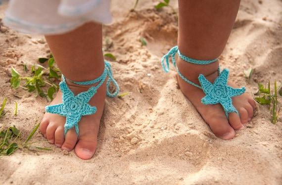 Aqua Seestern häkeln Baby barfuss Sandalen Tischfußball | Etsy