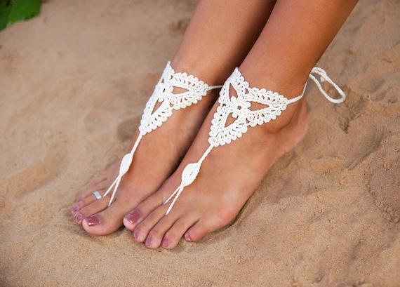 De Novia En Joyería Zapatos Pie Ganchillo Playa Descalzas Boda Sandalia Blanco Descalza Sandalias Desnudos La E2HIWD9