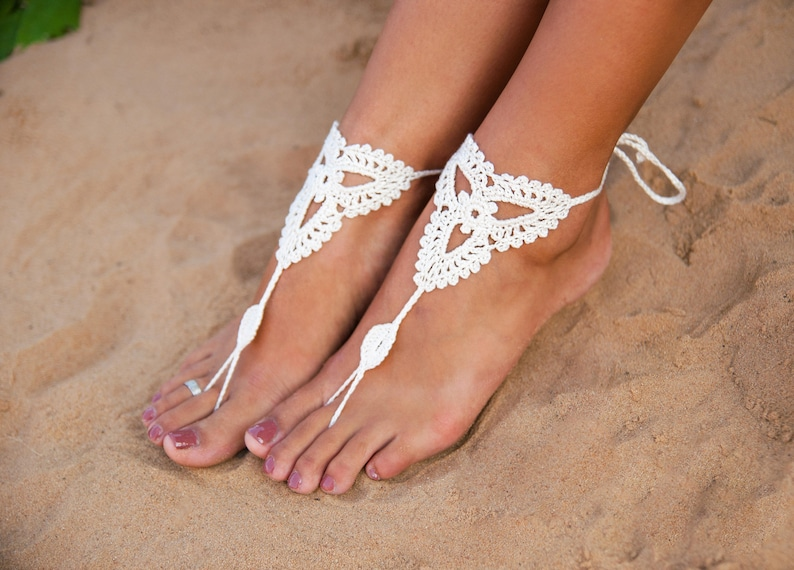 4b45598f3 Beach wedding White Crochet Barefoot Sandals Nude shoes Foot