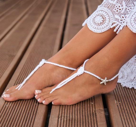16e89455d999a3 Nautical Bridal Foot jewelry Starfish Beach wedding Barefoot
