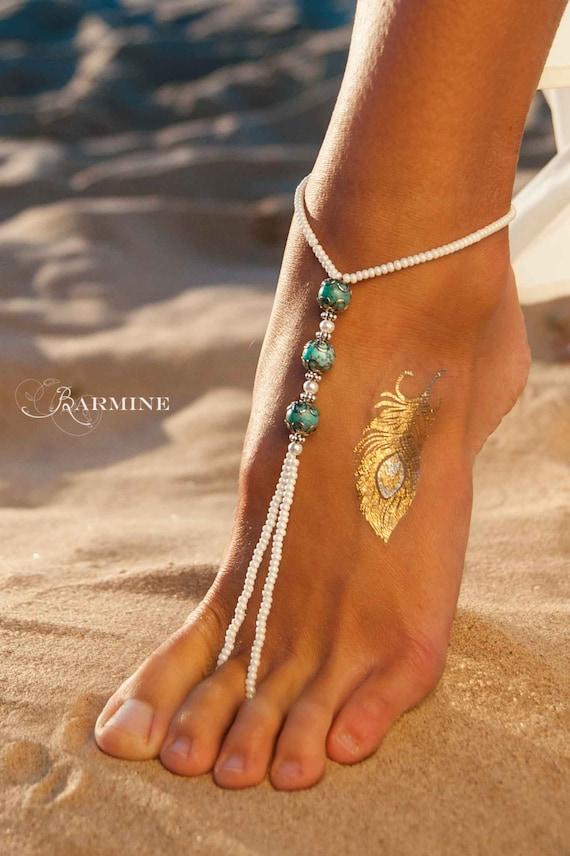 Boho Jewelry Barefoot sandals Turquoise