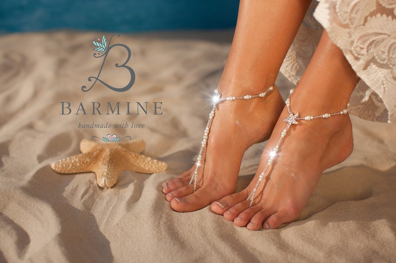 99c3a7a4e3119e Bermuda Beach wedding barefoot sandals Bridal foot jewelry
