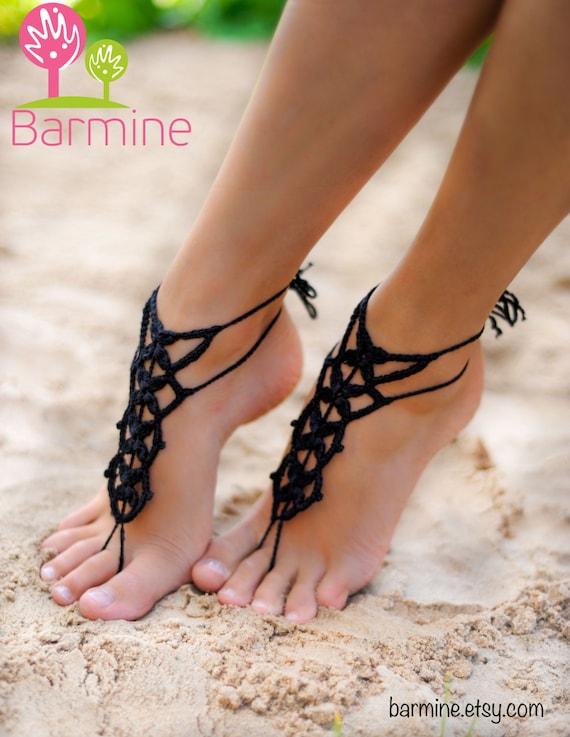 Schwarz barfuß Sandale Füße Riemen häkeln Fußschmuck | Etsy