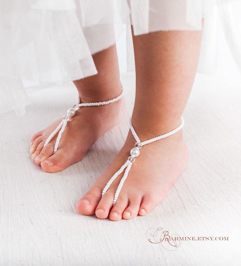 55fd61bcef2ad Flower girl barefoot sandals Baby foot thongs Christening