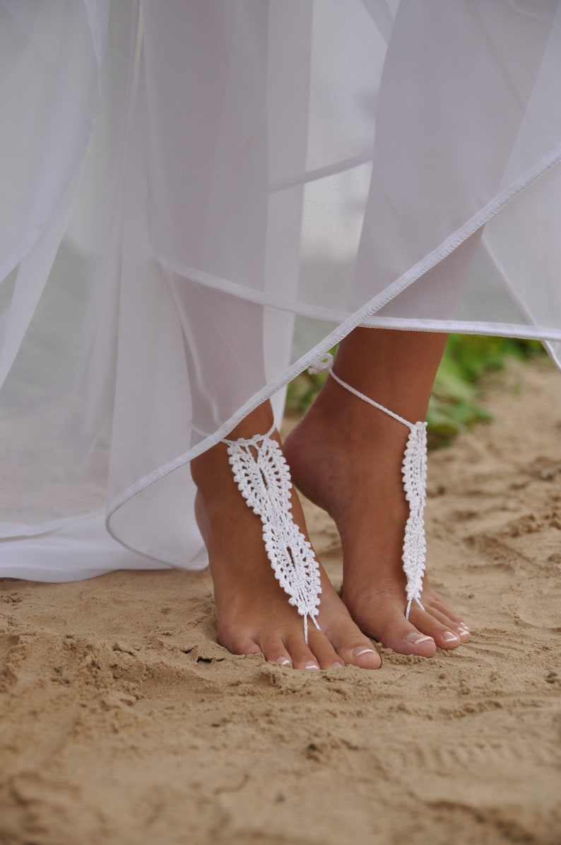 16bd8f4b0be8 Bridal Barefoot Sandals White crochet barefoot sandals Bridal