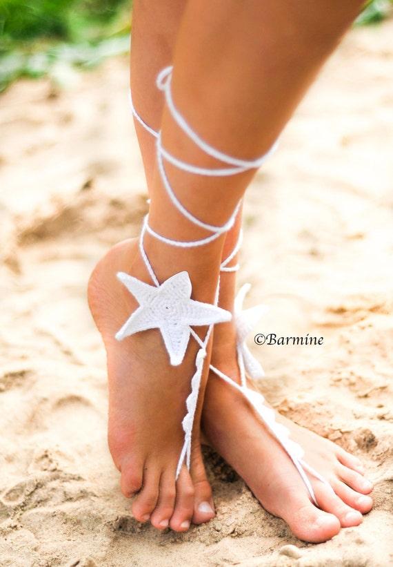 Weiß Seestern häkeln barfuss Sandalen-Braut | Etsy