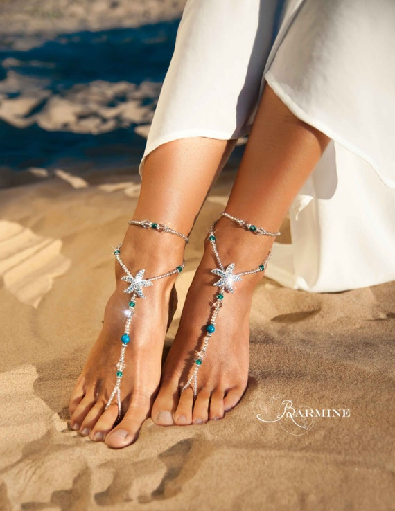 barefoot Bridal Rhinestone Beach Sandals sandals sandals foot Bridal Footless sandals Blue starfish jewelry barefoot Barefoot wedding shoes PYYwqFr78