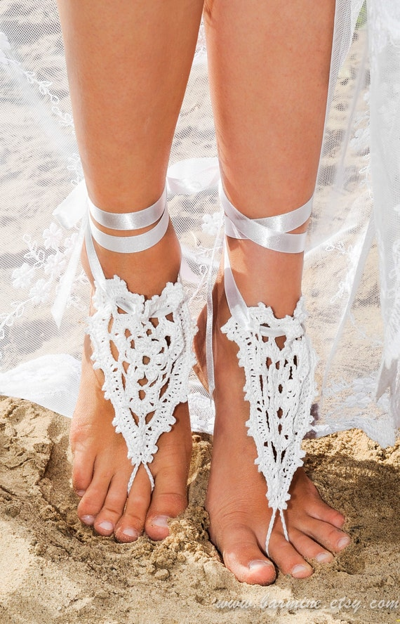 b932a57efe1 Beach wedding Crochet Barefoot Sandals in white with satin