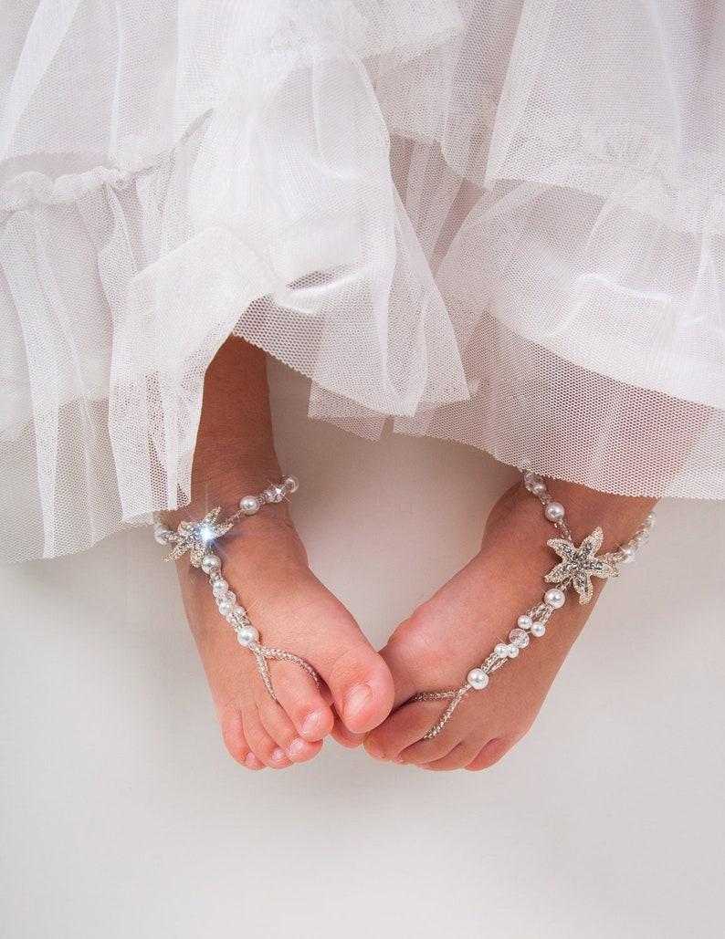 701bb58a16f66 Flower girl barefoot sandals Baby Starfish barefoot sandal