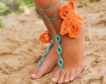 Tropical flower Crochet Barefoot Sandals, Lace shoes, Foot jewelry, Barefoot sandal, Bridesmaids shoes, Footless sandles, Foot thong