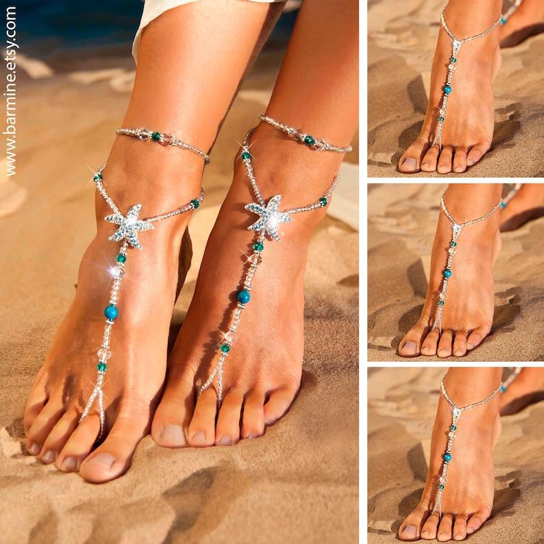 79868e1c5 Wedding party set Rhinestone starfish barefoot sandals