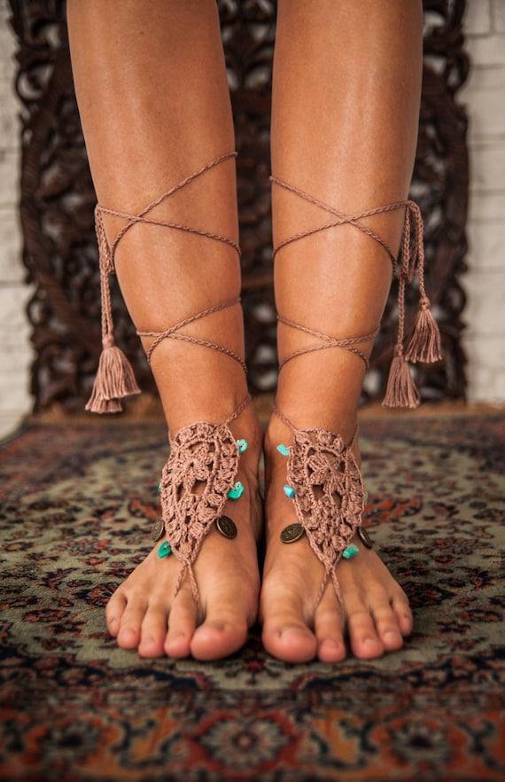 Yoga Barefoot Sandals Crochet Foot accessory Hippie Festival  63faaf6fd8c8