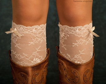 Lace boot cuff, lace boot sock, Lace leg warmers, Womens accessory, stretch Lace, Floral, Ivory boot topper