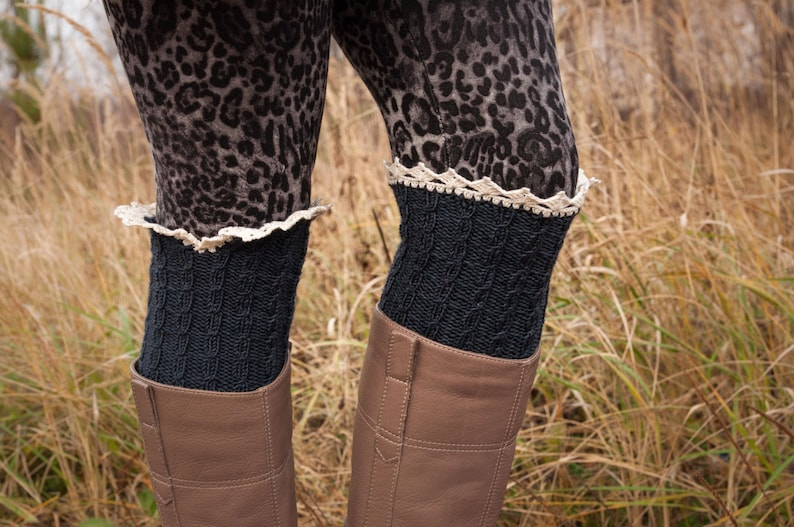 7643e1954c 3 in 1 Charcoal grey cable knit boot cuff Arm Warmers boot