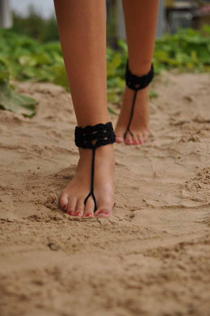 f768fe49a77fba Black Crochet Barefoot Sandals Anklet Nude shoes Foot
