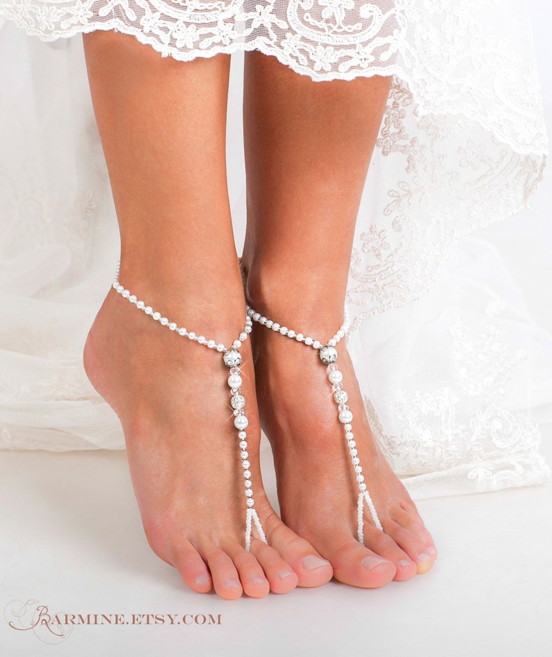5d450a691339ad Beaded Barefoot sandals Bridal jewelry Filigree Beads Beach