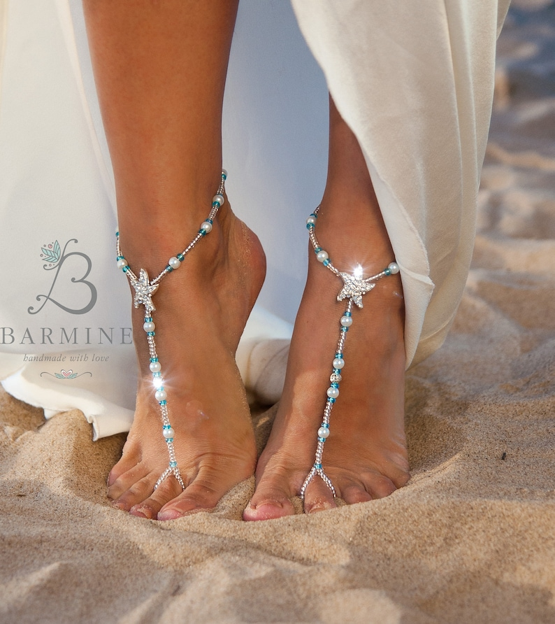 f8c2a8d93185 Bermuda Beach wedding barefoot sandals Something blue Bridal