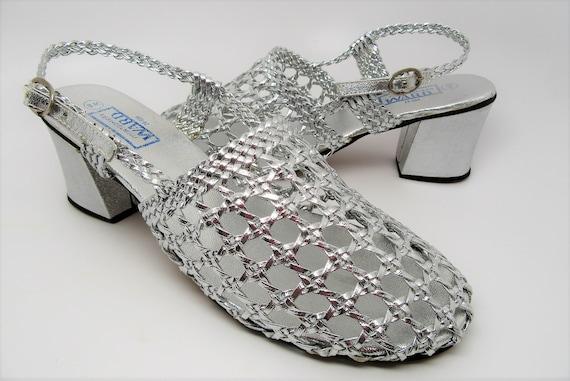 Montgomery Ward Sandals, Vintage Silver lace sanda
