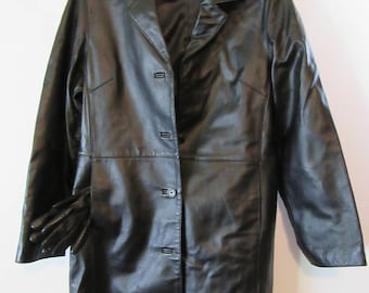 Black leather blazer by Charles Klein with fownes leather gloves