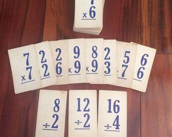Flash cards, vintage school, multiplication and division, math flash cards, paper ephemera