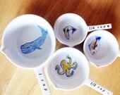Handpainted Ceramic Measuring Cups, Sea Creatures