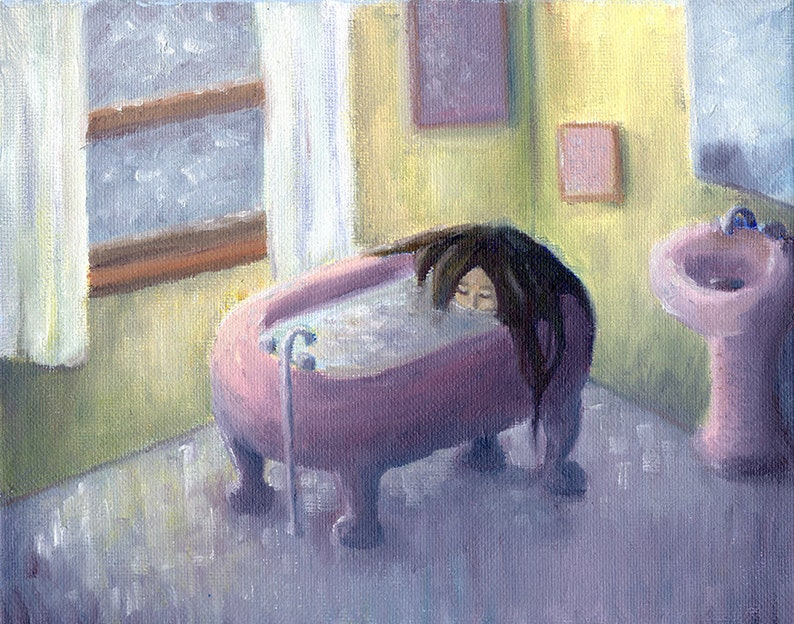 whimsical dark original oil painting girl in bath The Only Thing cozy art