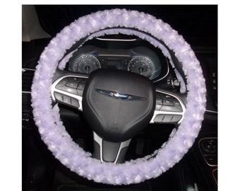 Minky fuzzy soft light purple rosebud swirls steering wheel cover