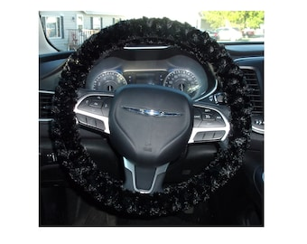 Minky fuzzy soft black rosebud swirls steering wheel cover