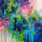 Original Abstract Acrylic Painting by Ashley Kunz Modern Decor Interior Design Canvas Art Colorful Modern Wall Pink Teal Secret Garden