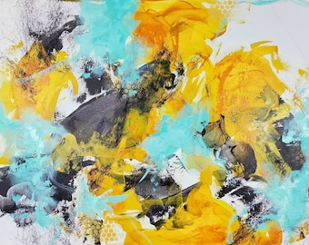 Honey Bee Honeycomb Original Abstract Expressionist Gift Large Colorful Acrylic Painting Large Artwork Interior Canvas Acrylic Art Mint