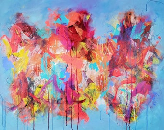 Only Hope Original Abstract Expressionist Gift Large Colorful Acrylic Painting Large Artwork Interior Canvas Acrylic Art