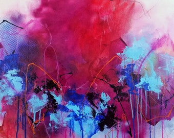 Hot Pink Gift Idea Purple Abstract Expressionist Painting Acrylic Ashley Kunz Decor Design Canvas Art Colorful Wild Original Love Big Peoney