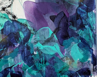 Dancing in the Rain Original Abstract Painting Acrylic Floral Nature Ashley Kunz Modern Decor Canvas Art Colorful Teal Violet Indigo