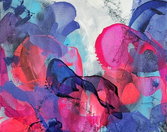 Free Fall Expressionist Original Abstract Acrylic Painting Ashley Kunz Modern Decor Canvas Art Colorful Love Purple Blue Texture Art