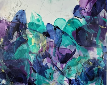 Dance With Me Original Abstract Painting Acrylic Floral Nature Ashley Kunz Modern Decor Canvas Art Colorful Teal Violet Indigo