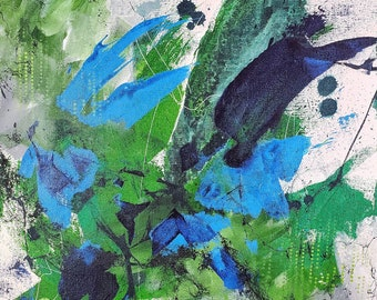 Changes Green Fresh Emerald Expressionist Original Abstract Acrylic Painting Ashley Kunz Modern Canvas Art ColorfulTexture Art