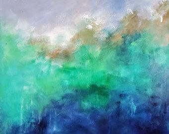 Caribbean Storm Sea Large Expressionist Original Abstract Acrylic Painting Ashley Kunz Modern Decor Teal Interior Design Canvas Art Peaceful