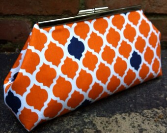 Orange and Navy Tile Clutch